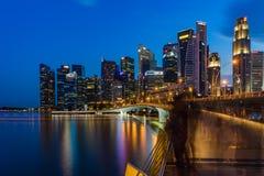 Singapore skyline and illuminated financial district night view, Stock Photos