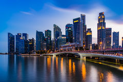 Singapore skyline and illuminated financial district night view, Stock Image