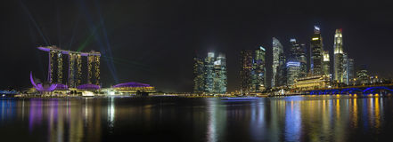 Singapore Skyline with Laser Light Show royalty free stock photography