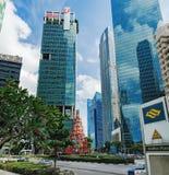 Singapore skyline located near Raffles Place stock images