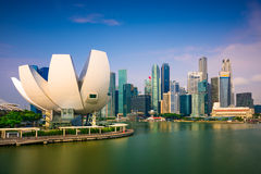 Singapore Skyline. At Marina Bay Stock Photo