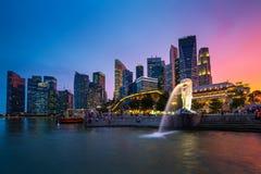 Singapore skyline, Marina bay and Merlion fountain Royalty Free Stock Photography