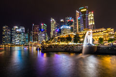 Singapore skyline, Marina bay and Merlion fountain view at dusk Royalty Free Stock Photo
