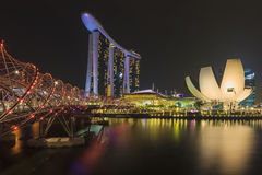 Singapore skyline, Marina Bay Sands and Helix bridge. Singapore skyline and view of Marina Bay Sands luxury hotel, which located near Helix bridge, a famous Stock Images