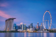 Singapore skyline at the Marina during twilight. Singapore skyline at the Marina during twilight with Singapore city, marina bay sand and singpore flyer Royalty Free Stock Photo