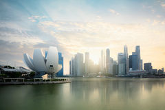 Singapore skyline at the Marina during twilight Stock Image