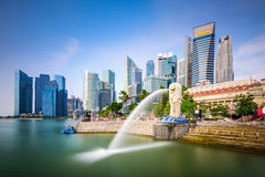 Singapore Skyline. At the Merlion fountain Royalty Free Stock Photography