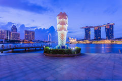 Singapore skyline and Merlion at twilight Royalty Free Stock Photo