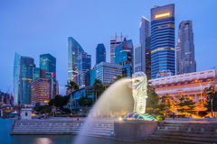 Singapore skyline and Merlion at twilight Royalty Free Stock Image