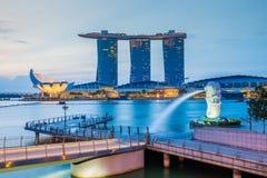 Singapore skyline and Merlion at twilight Stock Image