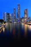 Singapore Skyline At Night. Singapore city view along the singapore river at dusk ,CBD area stock photo