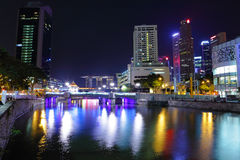 Singapore Skyline at Night Royalty Free Stock Photos