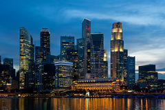 Singapore skyline at night. Royalty Free Stock Images