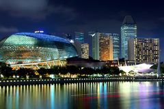 Singapore skyline night Royalty Free Stock Photos
