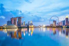 Singapore skyline at night. Singapore city skyline at twilight Stock Photos
