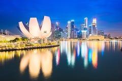 Singapore skyline at night. Singapore city skyline and view of Marina Bay at night in Singapore city Stock Photos