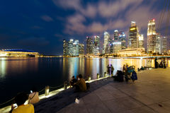 Singapore Skyline at night. Stock Photo