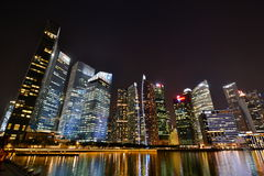Singapore skyline by night. Singapore is a global city and sovereign state in Southeast Asia and the world's only island city-state Royalty Free Stock Image