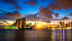 Singapore skyline at night. Landscate of singapore at night Royalty Free Stock Images