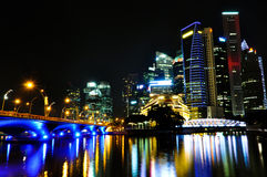 Singapore Skyline by Night Royalty Free Stock Photography