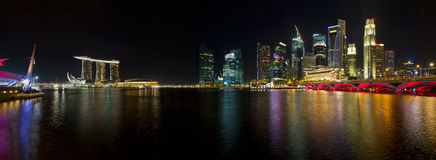 Singapore Skyline at Night Panorama Stock Images