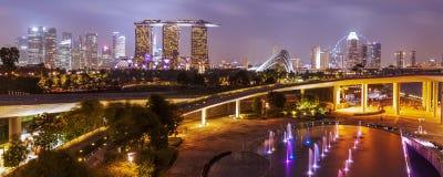 Singapore skyline at night Royalty Free Stock Images