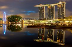 Singapore skyline at night Royalty Free Stock Photo