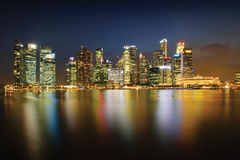 Singapore skyline at night series. Singapore Central business district at night Stock Photos