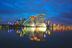 Singapore skyline at night in Singapore Royalty Free Stock Photography