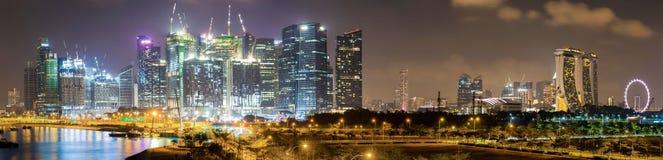 Singapore skyline at night. Singapore, Malaysia - April 4, 2016: City skyline of Singapore by night, Malaysia Royalty Free Stock Photo