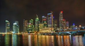 Singapore Skyline at Night Stock Image
