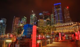 Singapore Skyline at Night Stock Photography