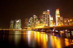 Singapore skyline at night time. Royalty Free Stock Photo