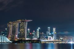 Singapore skyline at night with urban buildings. Famous travel destinations in south east asia Royalty Free Stock Image