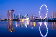 Singapore Skyline. At night, view from the Garden by the Bay Royalty Free Stock Photo