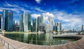 Singapore skyline panorama. Singapore skyline of business district and Marina Bay panorama. Ultra wide angle Stock Image