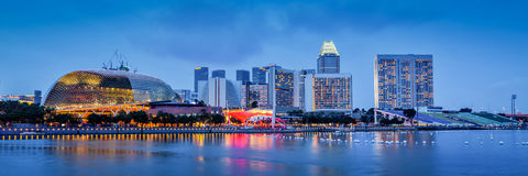 Singapore skyline panorama at Marina Bay Stock Images