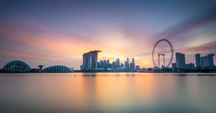 Singapore Skyline panorama at sunset Stock Images
