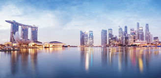 Singapore Skyline. Panoramic image of Singapore`s skyline at night Royalty Free Stock Photo