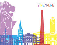 Singapore skyline pop. In editable vector file Royalty Free Stock Photos