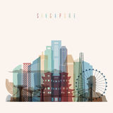 Singapore skyline poster. Transparent style Singapore skyline detailed silhouette. Trendy vector illustration Royalty Free Stock Images
