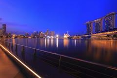 Singapore Skyline and Reflections. Singapore Marina Bay Skyline during twilight blue hour Royalty Free Stock Photos