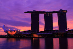 Singapore Skyline and Reflections. Singapore Marina Bay Skyline during twilight blue hour Royalty Free Stock Photo