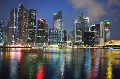 Singapore skyline and river. At blue hour Royalty Free Stock Images