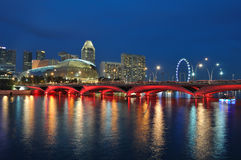 Singapore skyline and river. At blue hour Royalty Free Stock Photography