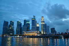 Singapore skyline and river. At blue hour Stock Photos