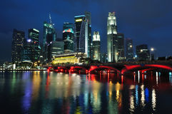 Singapore skyline and river. At blue hour Royalty Free Stock Photos