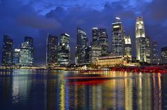 Singapore skyline and river. At blue hour Stock Photography