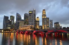Singapore skyline and river. At blue hour Stock Photo