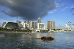 Singapore skyline and river Stock Photos
